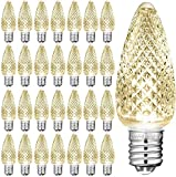 25 Piezas C9 Salida de Luces de Navidad Bombilla facetada LED Blanco cálido Reemplazo de Bombillas de luz de Navidad Bombilla de Luces de Cadena 3 LED SMD Bombillas en Forma de Vela Luces pa
