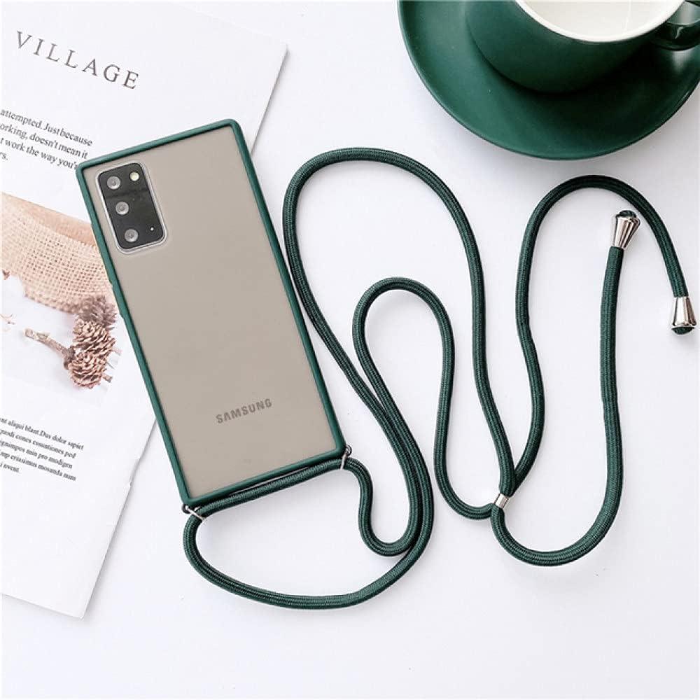 Crossbody Strap Necklace Lanyard Matte Clear Phone Case for Samsung A42 A11 M31S A20E M30 M20 A10 A20 A30 A40 A50 A60 A70 J7 A7,Dark Green,M30