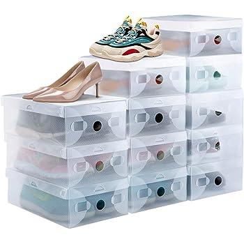 PERFETSELL 12Pcs Cajas Zapatos Transparentes, Cajas para Guardar Zapatos, Cajas Apilables, Cajas Organizadoras Zapatos, Caja de Almacenamiento, Cajas de Plastico para Zapatos (27.6*18.5*9.5cm, 41 EU): Amazon.es: Hogar