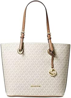 Michael Kors Jet Set Item Leather Tote (Vanilla)