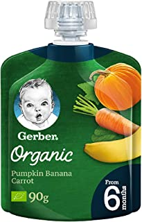 Nestle GERBER Organic Puree Pumpkin, Banana, Carrot 90g (Pack of 1)