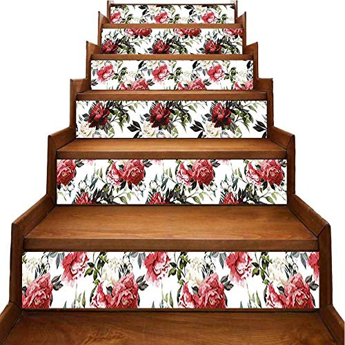 Staircase Stickers Country Style Floral Flower Roses Watercolor Image Art Cream Dark Coral Maroon and Furniture Mural Refurbished Stair Treads, W39.3 x H7 inch