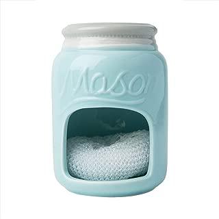 Ceramic Kitchen Sponge Holder Sink Caddy – Kitchen Décor And Accessories Farmhouse Style - Country Kitchen Sink Décor Rustic– Mason Jar Décor Sponge Holder – Scrubby Holder- Aqua Blue