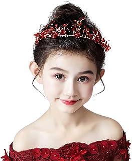 RKY Ragazze Corona, Corona Copricapo Principessa Girl Corona di Cristallo Fascia Rossa di Compleanno Host for Bambini Acce...
