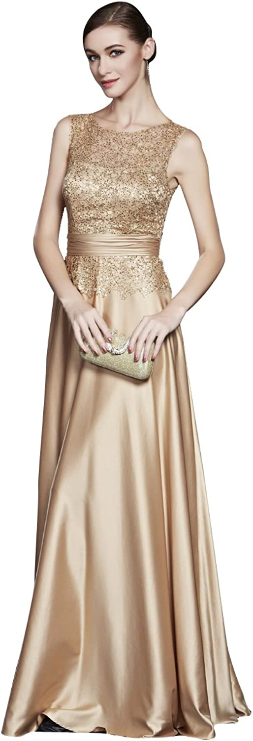 BeautyEmily ALine Sequined Lace ONeck Sleeveless Evening Gowns