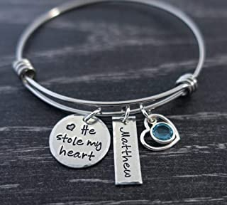Mom Bracelet Wire Bangle Mother Son Jewelry Hand Stamped