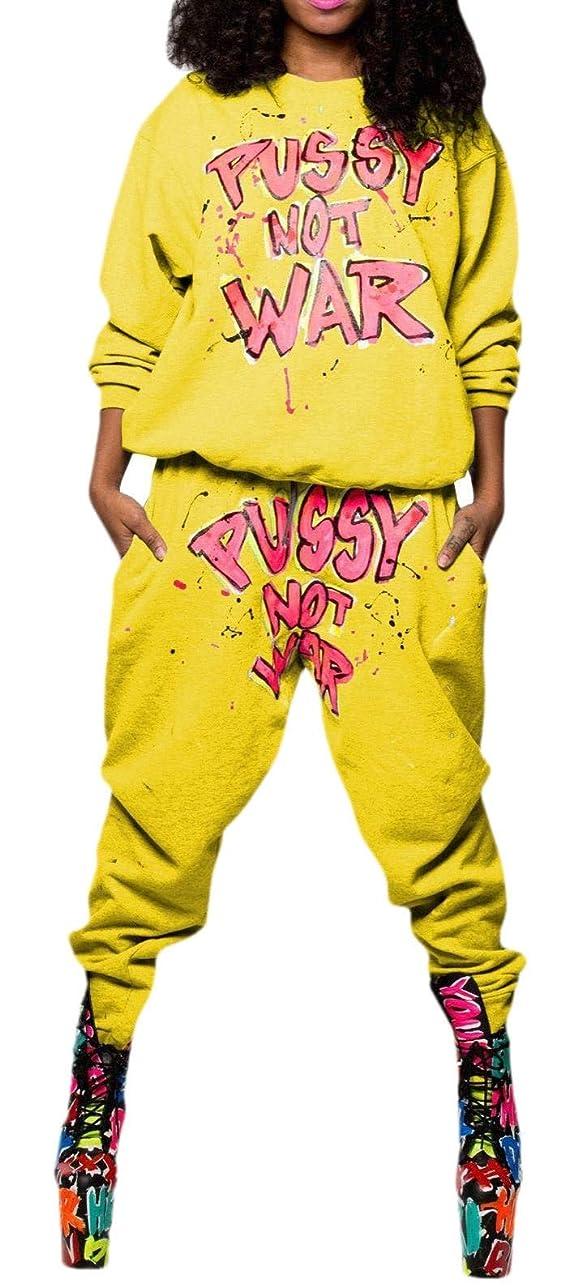 硬化するユーモアラバ女性カジュアルレター印刷長袖プルオーバースウェットパンツトラックスーツ