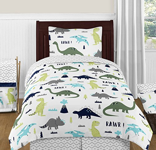 Sweet Jojo Designs 4-Piece Navy Blue and Green Modern Dinosaur Boys or Girls Kids Teen Twin Bedding Set Collection
