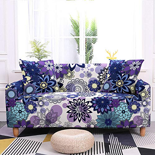 Universal Sofa Slipcover,Purple Floral Printed Stretch Sofa Cover 1/2/3/4 Seater- Modern Non Slip Elastic Polyester Spandex Couch Covers For Living Room Couch Furniture Protector,3,Seater 190,230Cm