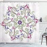 ABAKUHAUS Lila Mandala Duschvorhang, Klassische Tulip, Klare Farben aus Stoff inkl.12 Haken Farbfest Schimmel & Wasser Resistent, 175 x 200 cm, Farn Grün Magenta Weiß