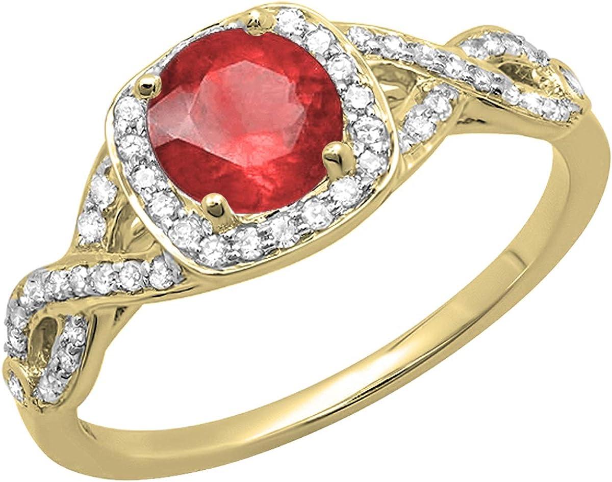 Dazzlingrock Collection 14K Gold Ruby & White Diamond Swirl Split Shank Halo Engagement Ring