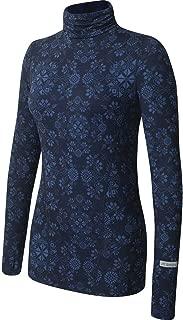 Terramar Women's Cloud Nine 4-Way Stretch Brushed Turtleneck Sweaters, Ink Alpine Print, Large (14)