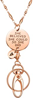 Jovitec Fashion Lanyard, Necklace Chain Lanyard for ID Badge Holder and Key Chain, Women's Chain Inspirational Pendant - She Believed She Could (Rose Gold)