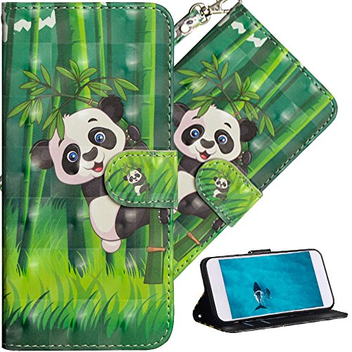 COTDINFOR Nokia 7 Plus Hülle für Geschenk Lederhülle 3D-Effekt Painted Kartenfächer Schutzhülle Protective Handy Tasche Schale Standfunktion Etui für Nokia 7 Plus Climbing Bamboo Panda YX.