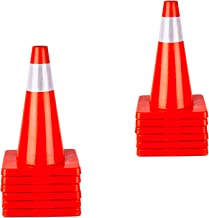 12 Packing Cones 18'' Orange Traffic Safety Cone with Reflective Collar Road Packing PVC Plastic(Set of 12)
