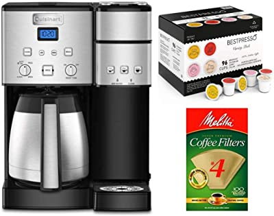 Cuisinart SS-20 10-Cup Coffeemaker Single-Serve Brewer Bundle with Natural Brown Filter 4 (100 Count) and 96-Count K-Cup Set (3 Items)
