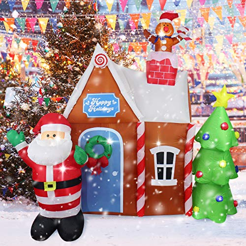 ShinyDec Christmas 7ft. Xmas Gingerbread House with Santa Claus Large Quick Inflatable Yard Decoration for Holiday, Brown
