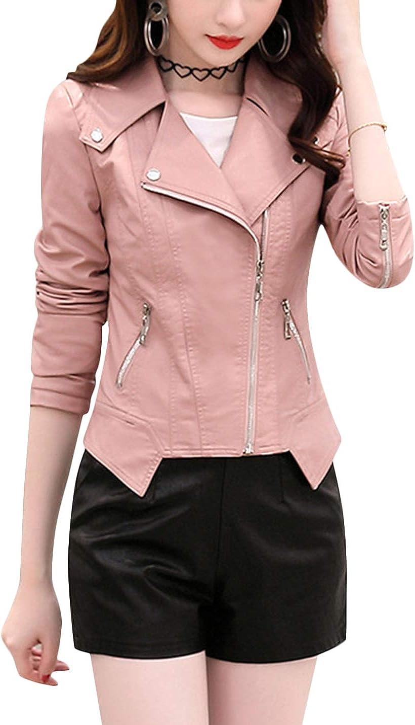 Uaneo Women's Casual Notch Lapel Long Sleeve Zip Slim Short PU Leather Jacket (Pink, Medium)