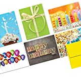 Note Card Cafe Happy Birthday Cards with Yellow Envelopes | 36 Pack | Blank Inside, Glossy Finish | It's Your Birthday Assortment Designs | Bulk Set for Greeting, Occasions, Birthday