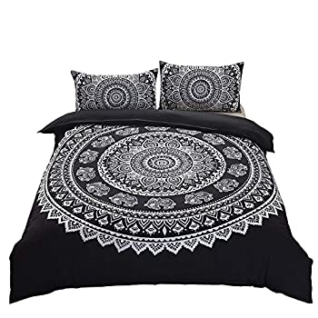 DasyFly 3 Piece Bohemian Duvet Cover Sets Queen Size Mandala Elephant Boho Chic Bedding Duvet Cover Sets for Aducts Boys Girls Black White