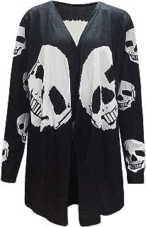 Fashion Halloween Women's Skull Print Loose Irregular Long Sleeve Cardigan Coat