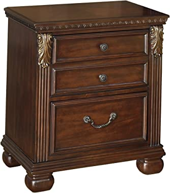 Ashley Furniture Signature Design - Leahlyn Nightstand - Antique Style - Rectangular - Warm Brown