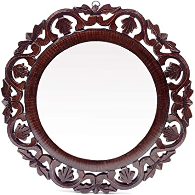 """GENERIC Decorative Hand Crafted Wooden Round Shape Vanity Wall Mirror for Living Room, Bathroom, Bedroom (16"""" x 16"""" Inches)"""