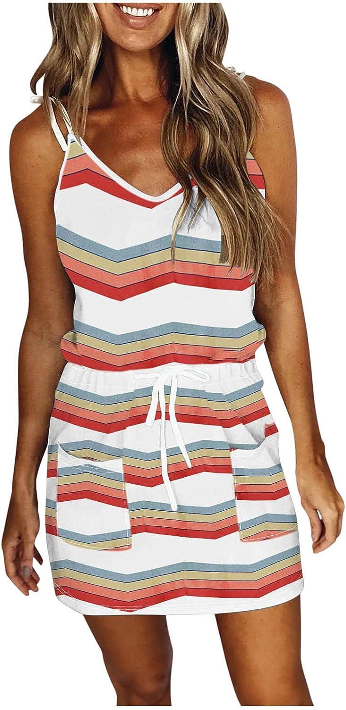 ManxiVoo Women's Sleeveless Casual Cami Dresses Spaghetti Strap Tie Shoulder Printed Mini Dress with Pockets