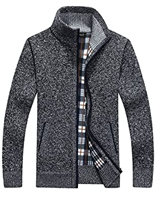 Yeokou Men's Casual Slim Full Zip Thick Knitted Cardigan Sweaters with Pockets (Large, Dark Grey) from