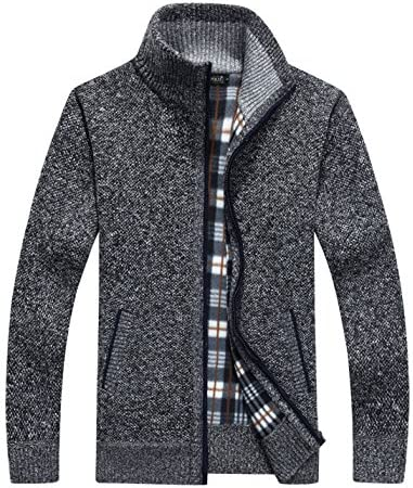 Yeokou Men s Casual Slim Full Zip Thick Knitted Cardigan Sweaters with Pockets Large Dark Grey product image