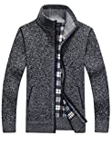 Yeokou Men's Slim Fit Zip Up Casual Knitted Cardigan Sweaters with Pockets (Medium, Dark Grey)