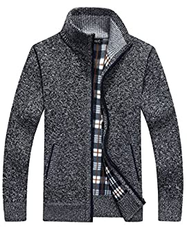 Yeokou Men s Casual Slim Full Zip Thick Knitted Cardigan Sweaters with Pockets  X-Large Dark Grey