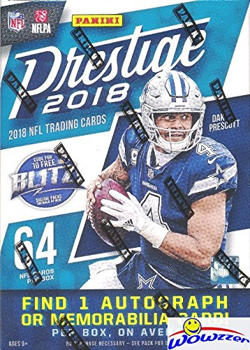 2018 Panini Prestige NFL Football EXCLUSIVE Factory Sealed Retail Box with AUTOGRAPH or MEMORABILIA Card! Look for Rookies & Autos of Baker Mayfield, Sam Darnold, Saquon Barkley & Many More! WOWZZER