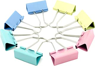 Binder Clips Paper Clamps, Paper Binder Clips Metal Fold Back Clips with Box for Office, School and Home Supplies, Multico...