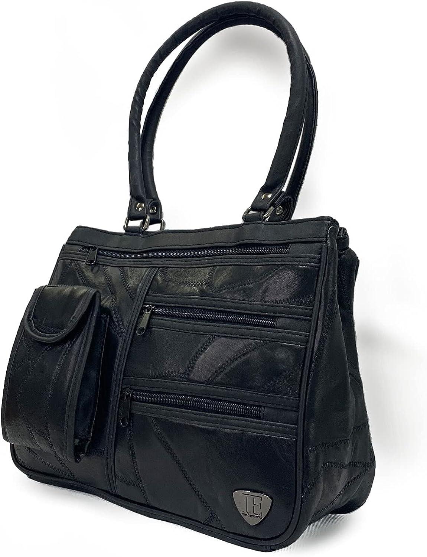 TASSINI Women's Black olor Patchwork Lambskin Leather Shoulder Handbag Cross-Body Purse Satchel Designer Ladies Tote