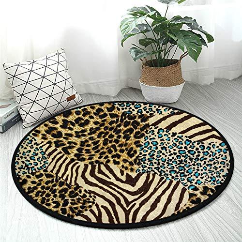 ALAZA Animal Zebra Tiger Leopard Print Round Area Rug Non Slip Rug Floor Mat Carpet Entryway Hallway Sofa Living Room Bedroom Home Decor 3' Diameter(92 cm)