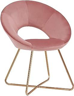 Duhome Silla de Comedor diseño Retro con Brazos Silla tapizada Vintage sillón con Patas de Metallo 439D, Color:Rosa, Mater...