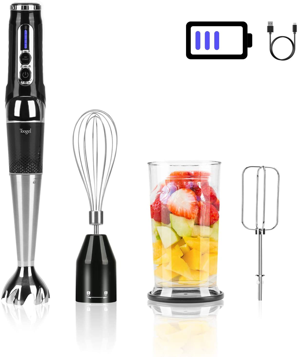 Cordless Hand Blender Rechargeable, Powerful Variable Speed Control with 21-Speed Immersion Stick Blender , Portable Electric Hand Mixer