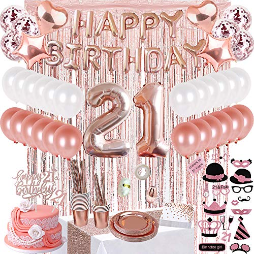 JSN PARTY 21st Birthday Decorations for Her, Rose Gold Birthday Party Supplies for Women, Photobooth Props, Birthday Banner, Table Runner, Curtains, Cake Topper, Plates, Cups and More for 16 Guest