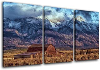 Grand Teton Canvas Wall Art Country Decor Cabin Decorations Rustic Pictures Landscape Paintings 3 Piece Canvas Wall Art Home Decor for Living Room Framed Gallery-wrapped Ready to Hang(24''x36'')