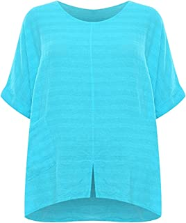 CELEB LOOK W21 Celebmodelook New Italian Women's Linen Front Pocket Ladies Baggy Oversized Short Sleeve top