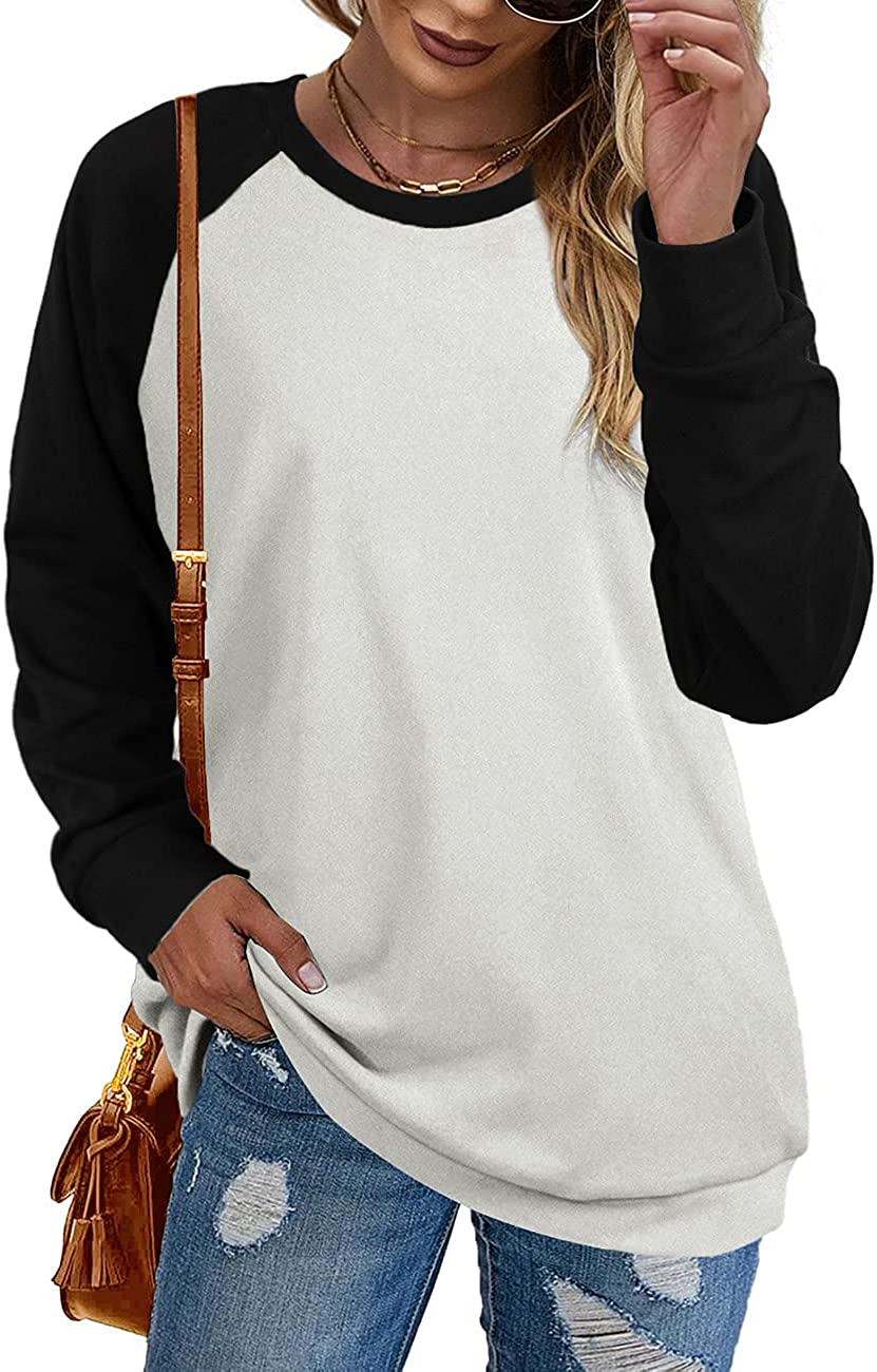 Sipaya Women's Crewneck Sweatshirts Contrast Color Long Sleeve Tops