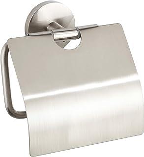 WENKO Dérouleur de papier hygiénique Cuba Mat, porte-rouleaux de papier avec couvercle pour la protection, qualité massive...