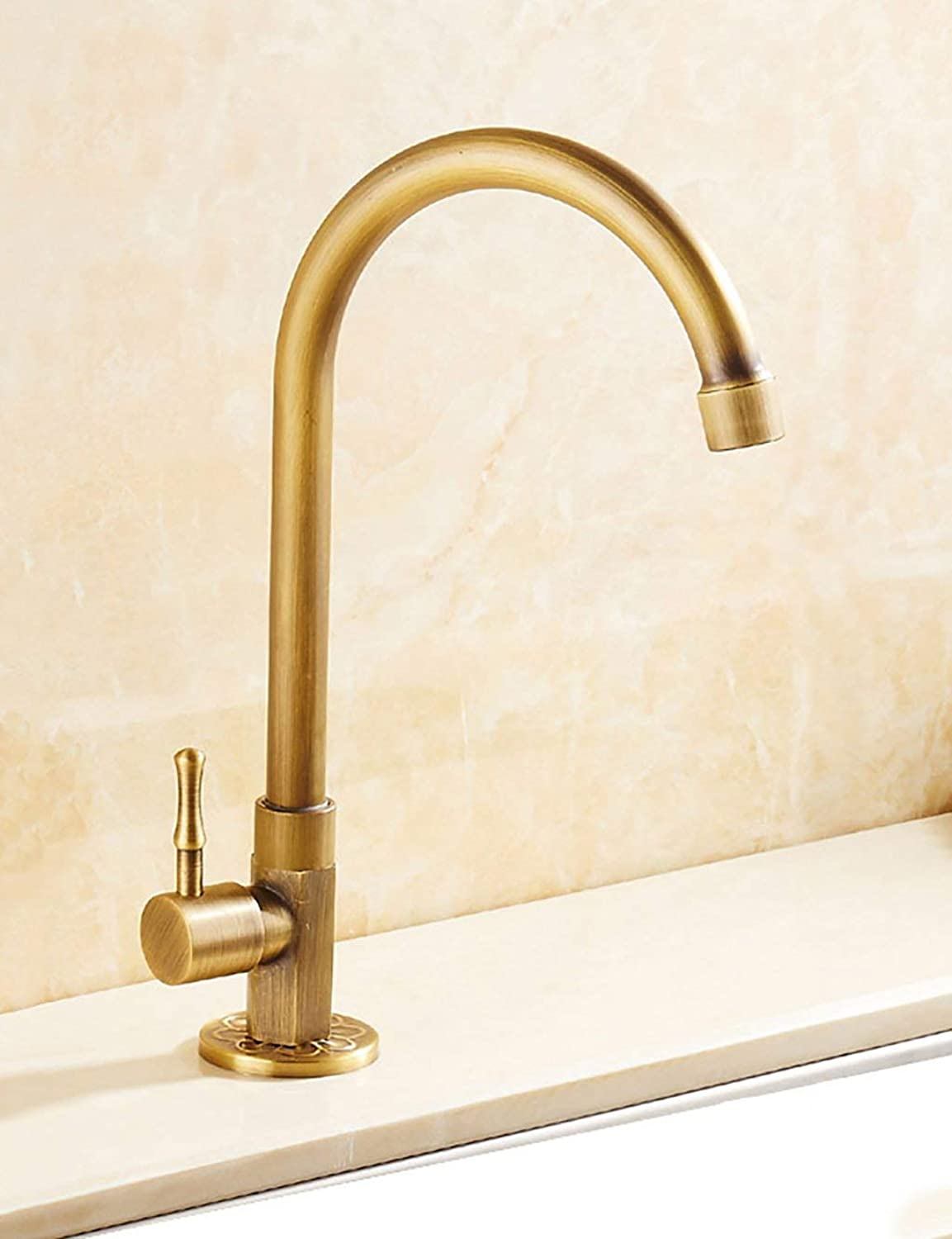 DYR Faucet European Style Household Kitchen Faucet Copper greenical Single Cold Turning