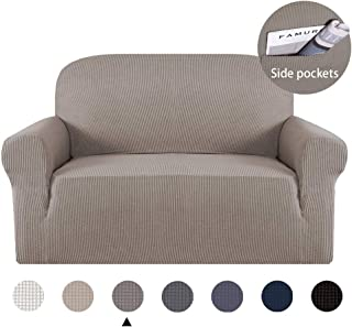 Marchtex Sofa Slipcover Stretch High Spandex Sofa Cover/Lounge Covers/Couch Covers Furniture Covers for 2 Seater Cushion Cover Stretch, 1-Piece Sitting Cushion Cover (Loveseat, Taupe)