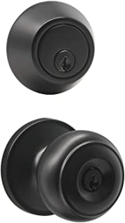 Probrico Keyed Alike Round Ball Entry Door Knob and Single Cylinder Deadbolt Set, Flat Black, 1Pack