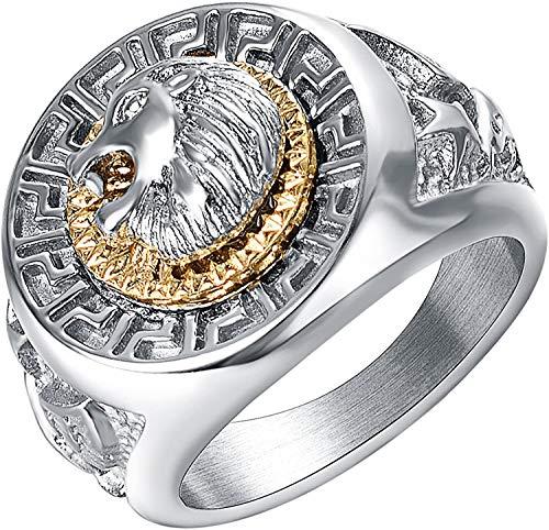 QAZXCV Pinky Ring Männer Löwe Kopf Ring Titanstahl Gold Und Silber Zweifarbige Mode Personalisierte Schmuck Großer Ring,10