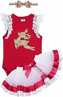 de84db30b6e0a TiaoBug Bébé Fille Costume Noël Déguisement Cerf Barboteuse Anniversaire  Body Combinaison à Manche Volant et Tutu