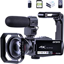 4K Video Camera Camcorder 10X Optical Zoom ORDRO UHD 1080P 60FPS Vlogging Camera for YouTube Video Recorder with Microphon...