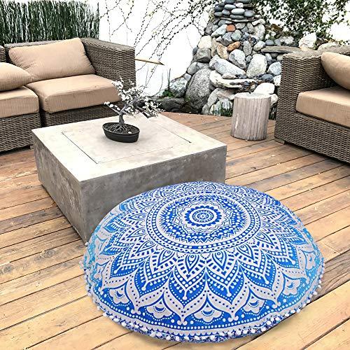 Marubhumi Blue Ombre Indian Hippie Mandala Floor Pillow Cover - Cushion Cover - Pouf Cover Round Bohemian Yoga Decor Floor Cushion Case- 32 Inch